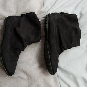 Shoes - Black faux suede slip on booties